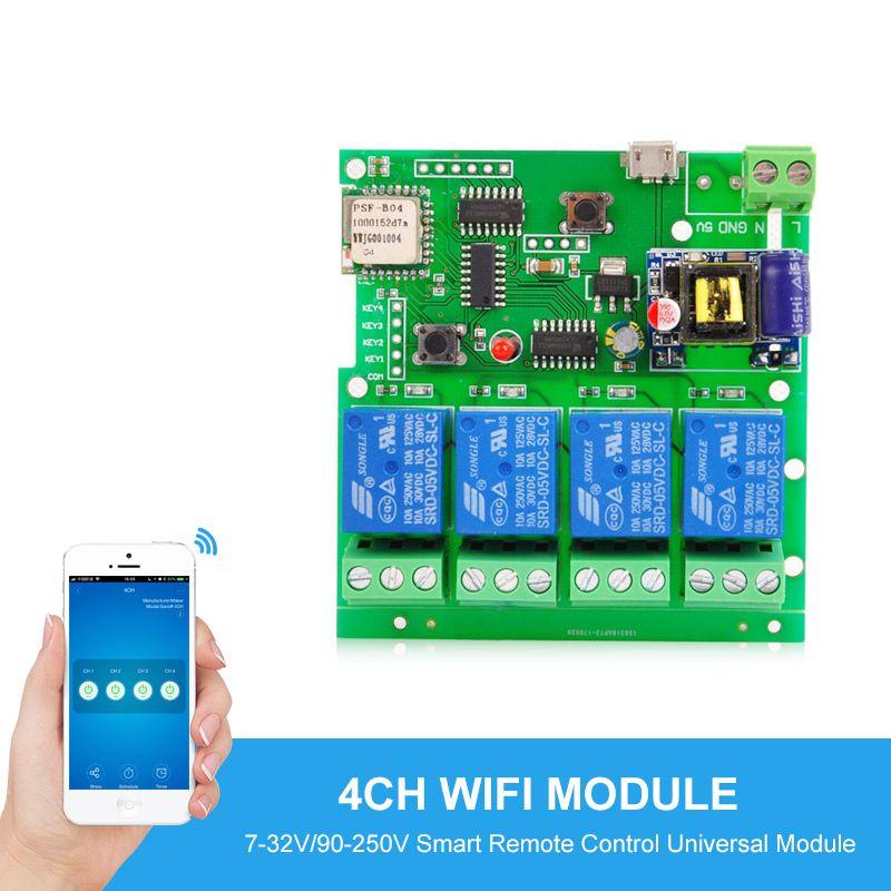 smart Remote Control Module 4ch DC 5V/12V 32V 220V Jog Inching Self-locking RF receive 10a relays WIFI Wireless Switch