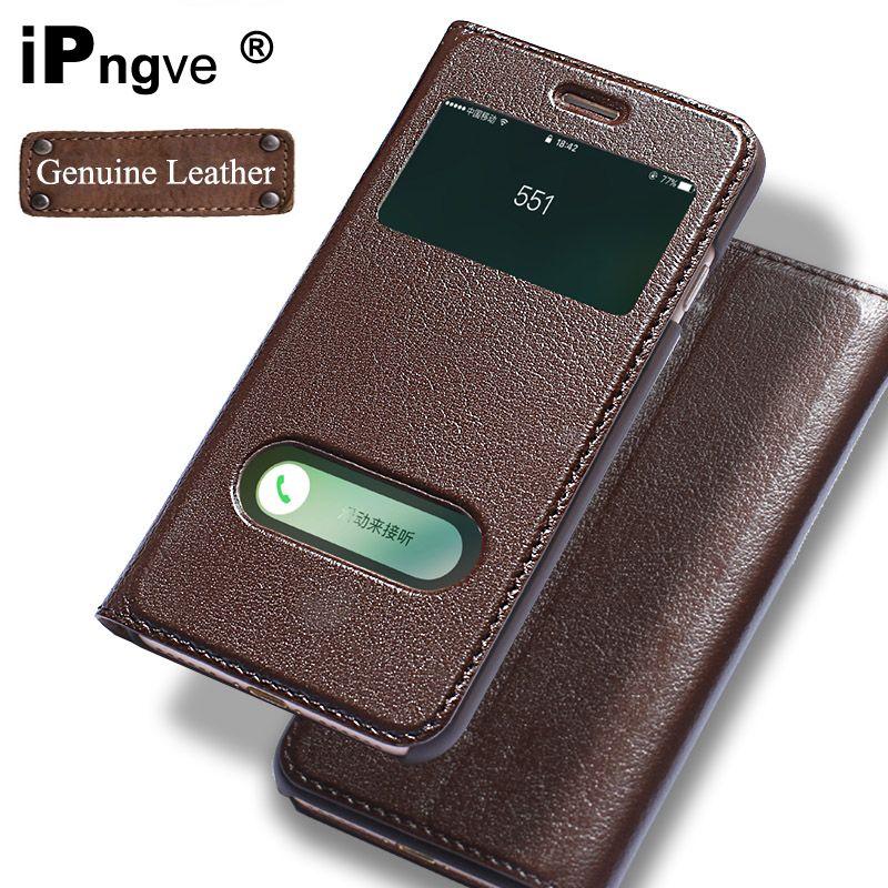 Ipngve étui à rabat en cuir véritable étui pour iPhone 7 vue de fenêtre téléphone avec boucle magnétique Coque Fundas pour iPhone 7 Plus