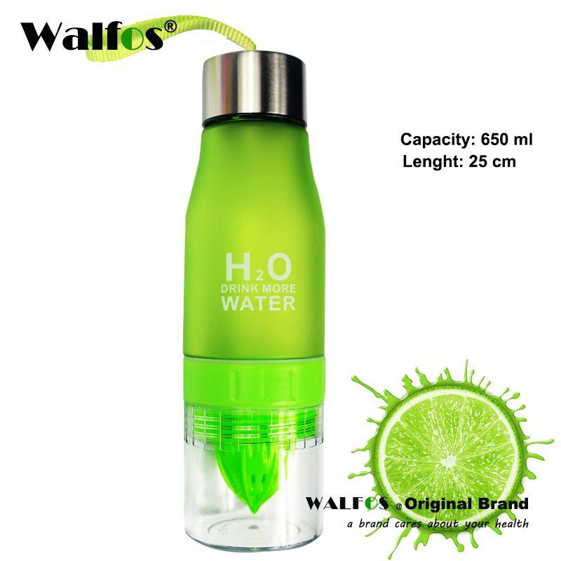 WALFOS qualité alimentaire 650 ML bouteille H2O jus de citron fruits bouteille d'eau infuseur Drinkware pour l'extérieur Portable Shaker sport bouteille