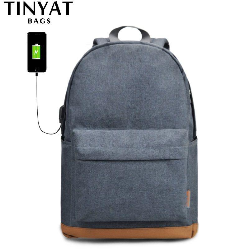 TINYAT Men's 15 inch laptop backpack with USB male school backpacks rucksack leisure for teenage Travel Women Anti-thef Mochila