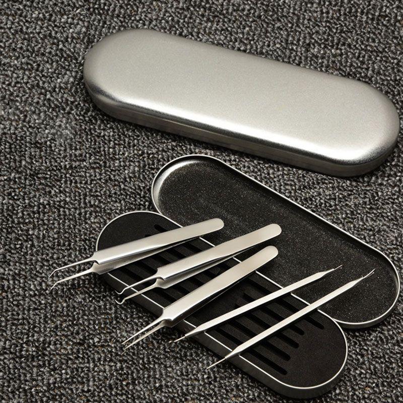 Haute Qualité 5 pcs Blackhead Remover Tool Set Inoxydable Acné Aiguille Pimple Pincettes Comédon Acné Extractor Visage Soins de La Peau Outils