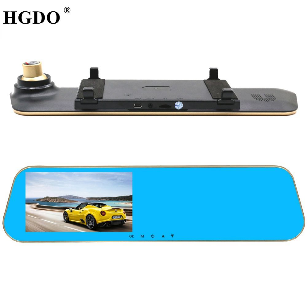 HGDO New Car DVR Rearview mirror Video Recorder two cameras Full hd 1080P video Registrator Night vision Loop video Dash cam