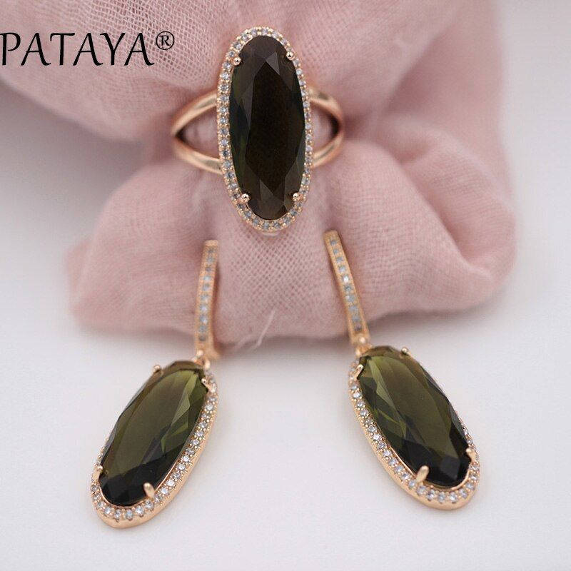 PATAYA New Women Wedding Vintage Jewelry 585 Rose Gold Trend Jewelry Sets 10 Colors Natural Zircon Oval Long Earrings Ring Set