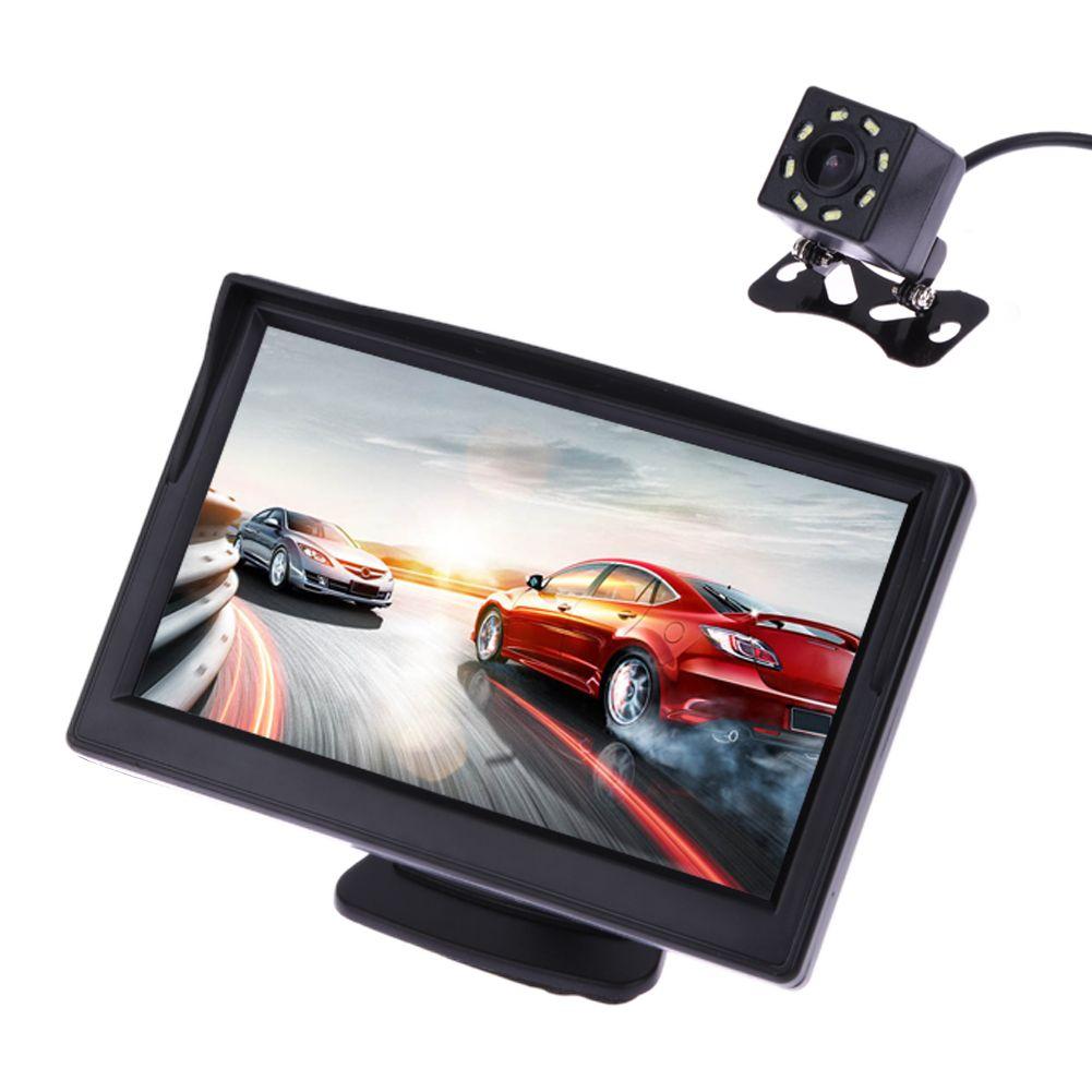 5 Inch TFT LCD Rear View Display Monitor + Waterproof Night Vision <font><b>Reversing</b></font> Backup Rear View Camera High Quality Car Monitors