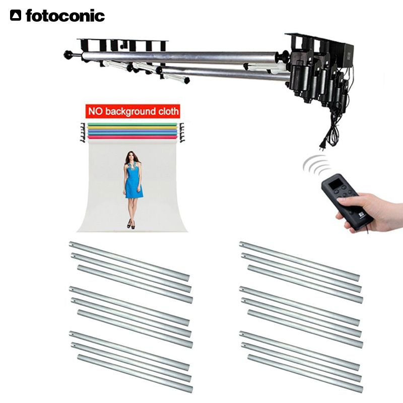 Studio 6 Roller Motorized Electric Background Backdrop Support System+6PCS 3M Metal Crossbar Kit for Photography Video Photo