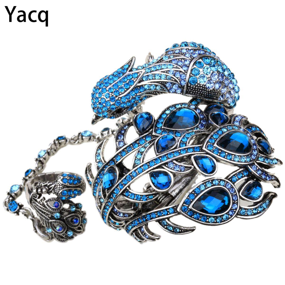 YACQ Paon Bracelet Bracelet Esclave Main Chaîne Attachée Anneau Ensembles Femmes Bijoux Cadeaux A23 Argent Or Couleur Dropshipping