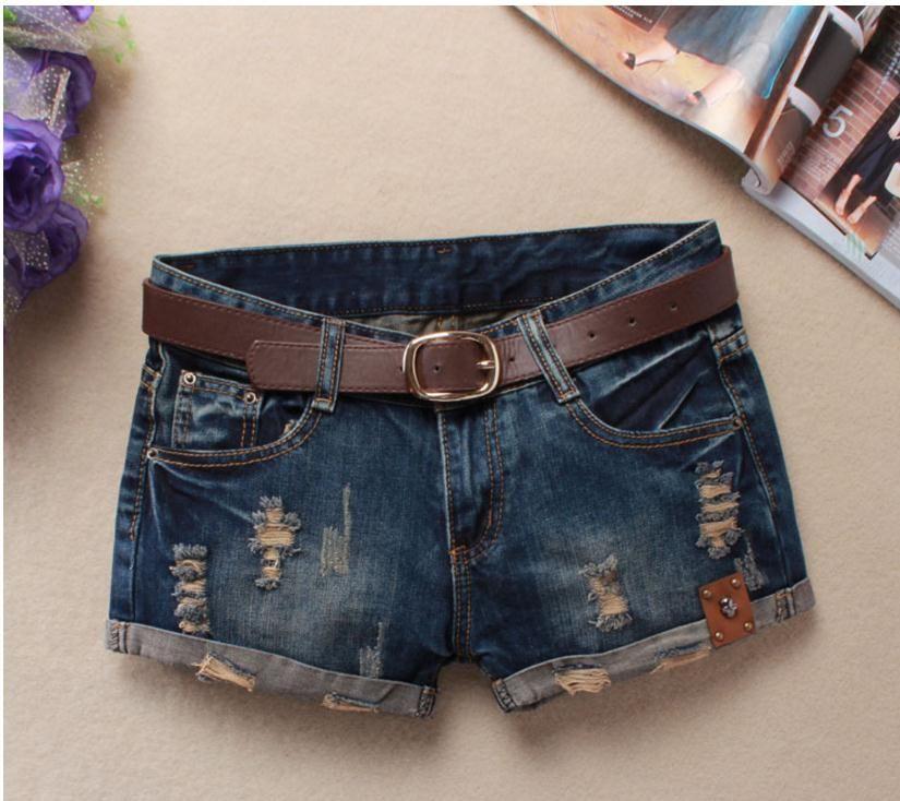 Été Denim Shorts pour femmes Sexy Mini Shorts femmes Rivet trous Jeans taille basse Shorts sans ceinture déchiré Denim court J2305