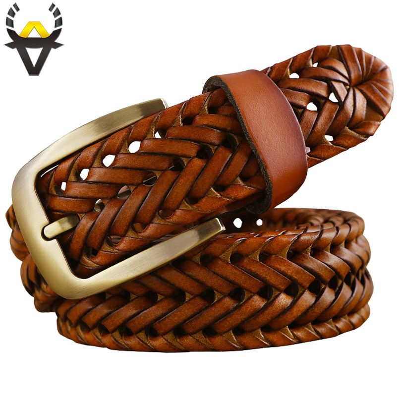 2016 New Braided Belt Man Fashion Mens belts luxury genuine leather Good Cow <font><b>second</b></font> layer skin straps men for Jeans girdle Male