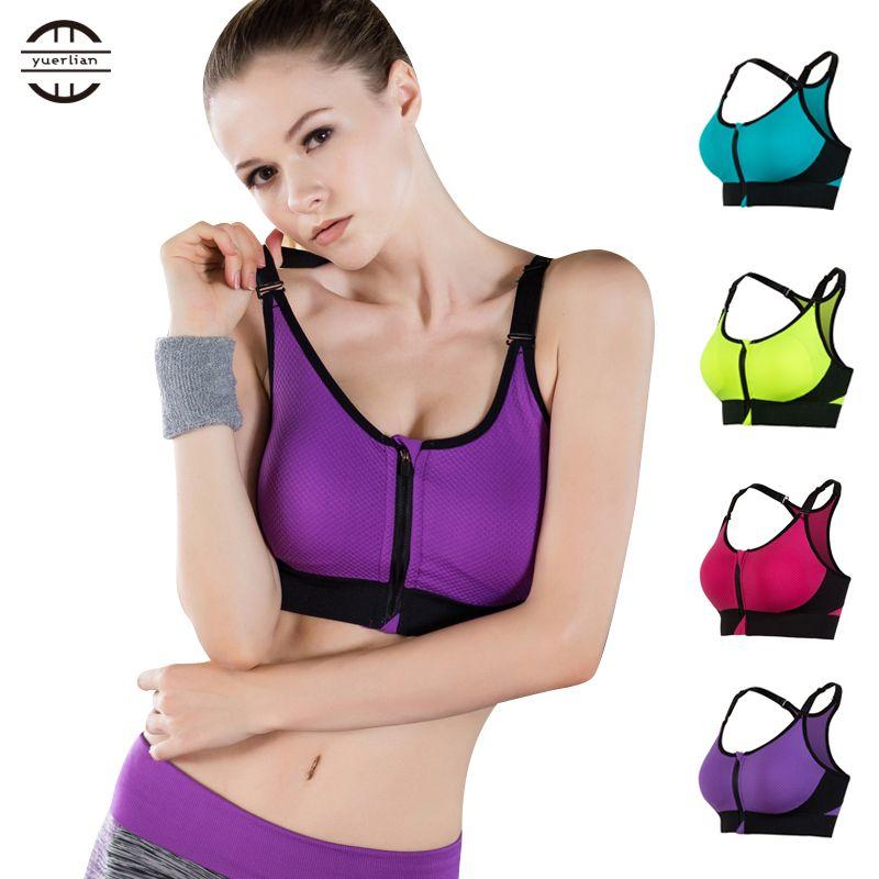 Neue Frontreißverschluss Breathable Frauen Yoga-büstenhalter Drücken Nahtlose unterwäsche Tank Top Gym Fitness kleidung Jogging yoga shirts Sport bh