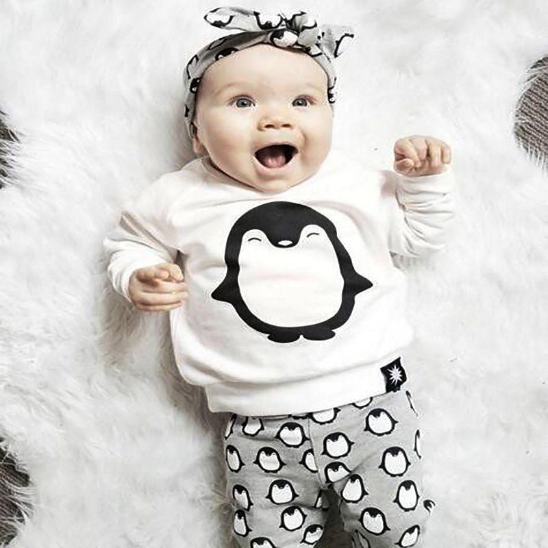 Mode bébé fille vêtements 2 pièces (mignon pingouin imprimer manches longues t-shirt + pantalon) bébé garçon filles vêtements ensemble nouveau-né bébé garçon vêtements