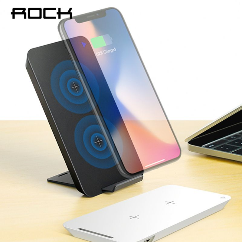 QI Fast Wireless Charger, ROCK Dual Coil Charging Pad 10W For iPhone X 8 Samsung Note 8 S8 Plus S7 S6 Edge Dock Station Holder