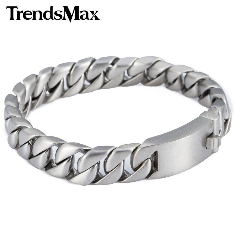 Trendsmax 11mm Silver Color Round Curb Cuban Link 316L Stainless Steel Brcelet Mens Chain Fashion Jewelry HB162