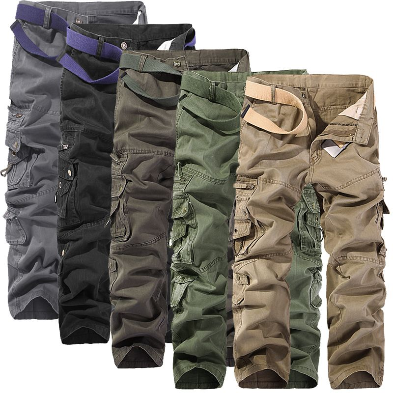 2018 New Men Cargo Pants big pockets decoration mens Casual trousers easy wash autumn army green pants male trousers size 40