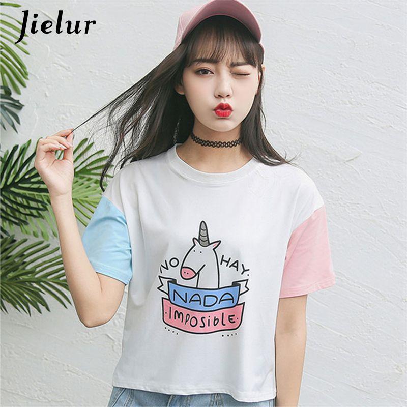 Été Harajuku BF sort couleur à manches courtes femme T-shirt nouvelle mode mignon poney dessin animé imprimé lâche T-shirt haut pour femme S-XL