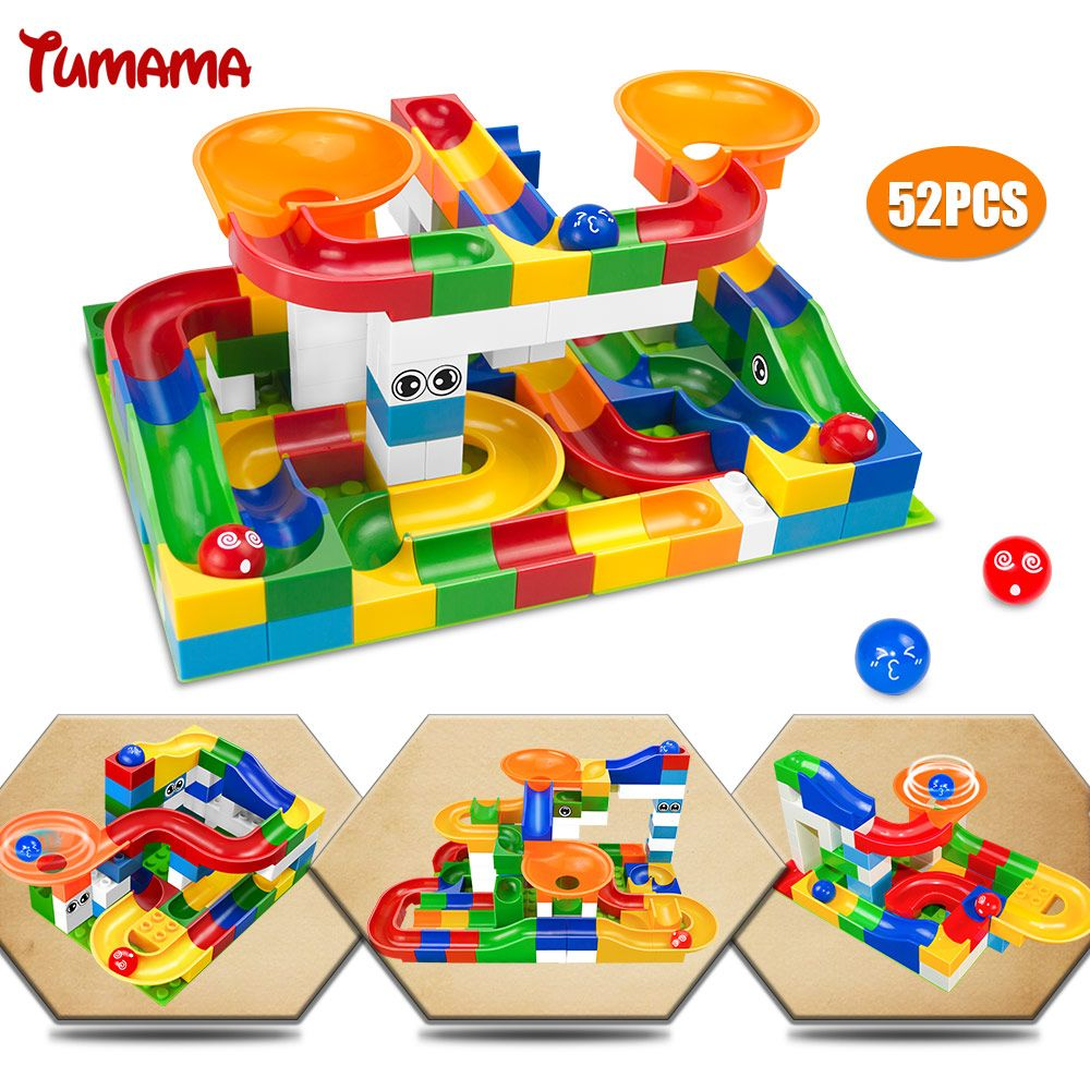 52Pcs Construction Marble Race Run Maze Balls Track Building Blocks Big <font><b>Size</b></font> Educational Bricks Compatible with Legoed Duploed