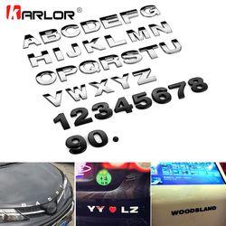 25mm auto cromo metal DIY 3D ARC letras alfabeto digital decoración emblema Etiquetas de coche logo automóviles Accesorios