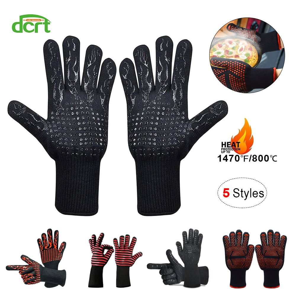 5 Styles 500-800 Centigrade Extreme Heat Resistant BBQ Gloves Cooking Baking Grilling Oven Mitts Kitchen Protection Baking Tools