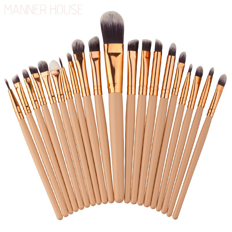 MANNER HOUSE 20Pcs/Sets 2017 New Eye Shadow Foundation Eyebrow Lip Brush Makeup Brushes Tools 8 Colors Optionals