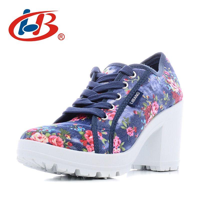 LIBANG Zapatos Cómodos de la Plataforma de Las Mujeres Floral Mujer Tacones Altos Zapatos 2017 Zapatos de Lona de Alta Tacones Gruesos Wedg Tacones De Zapatos Para Mujer