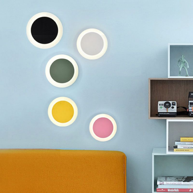 Nordic simplicity macarons color wall lamp wrought iron round wall lamp entrance hallway LED rotating indoor lighting wall lamp