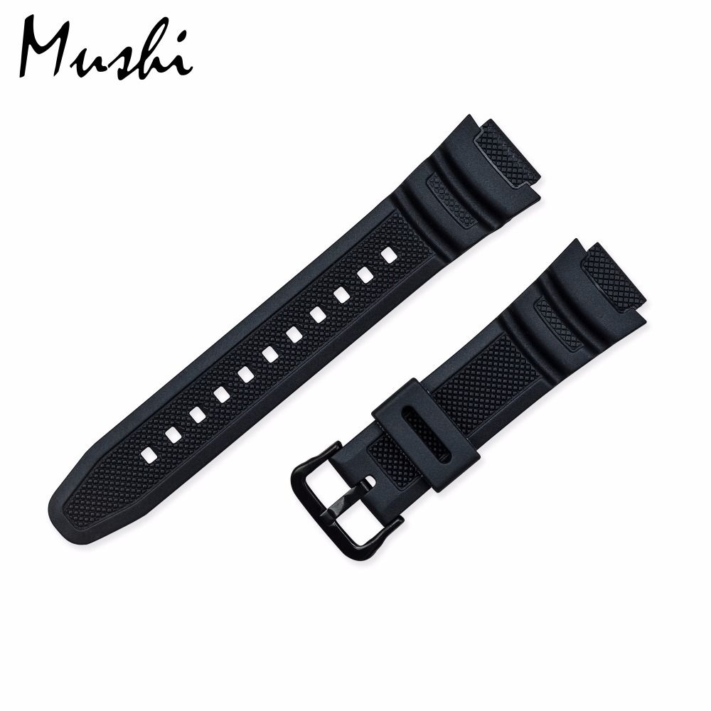Gummi Strap für Casio PGR-270/PGR-270-1/MRW-200H/SGW-500 Silikon Armband Pin Schnalle Uhr Handgelenk Armband Schwarz