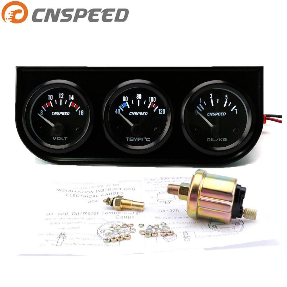 CNSPEED 52mm 12V Triple jauge Kit jauge de température de l'eau pression d'huile voltmètre température avec capteur 3in1