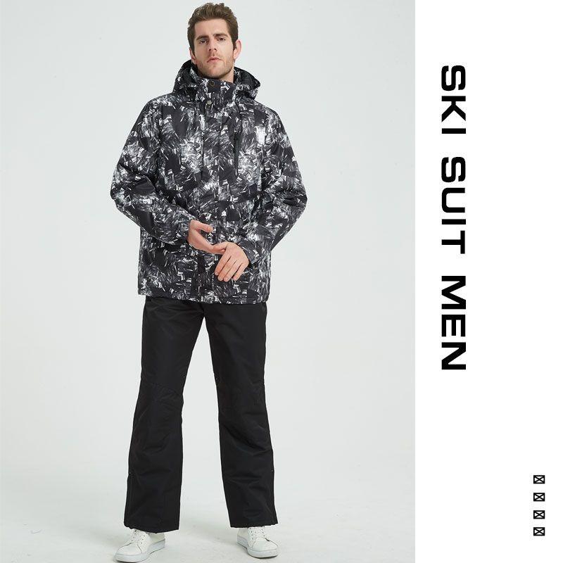 Ski Suit Men Winter 2018 Thermal Waterproof Windproof Clothes <font><b>Snow</b></font> pants Ski Jacket Men Set Skiing And Snowboarding Suits Brands