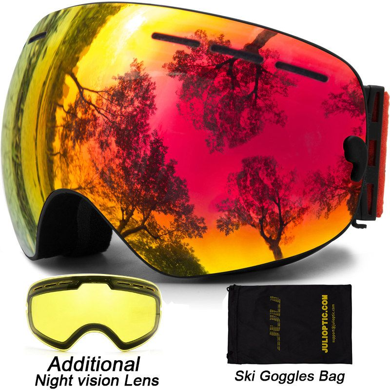 Ski Goggles,Double Lens Snowboard Goggles Anti-fog UV Protection Unisex Snowmobile Skiing Skating With Night Vision Ski Lens