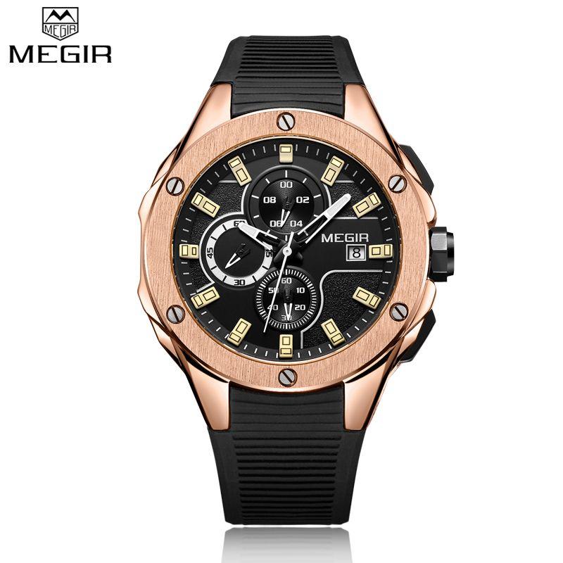 MEGIR New Brand Quartz Watches Men Top Quality Chronograph Functions Watch Original Style Life Waterproof Silicone Casual Clock