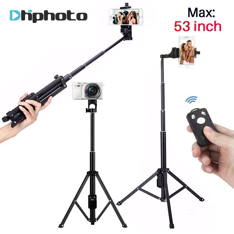 137cm/53in 3 in 1 Handheld Tripod <font><b>Selfie</b></font> Stick Monopod with Bluetooth Remote Shutter Aluminium Travel Tripod for iPhone Camera