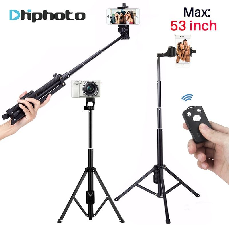 137cm/53in 3 in 1 Handheld <font><b>Tripod</b></font> Selfie Stick Monopod with Bluetooth Remote Shutter Aluminium Travel <font><b>Tripod</b></font> for iPhone Camera