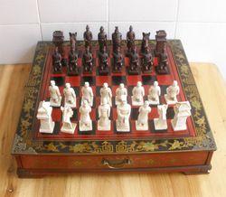 DHL Pengiriman 43.5*43.5*8 CM ChessQueen Internasional Perspektif Angka Terakota Catur Papan Kayu Antik Hadiah Natal
