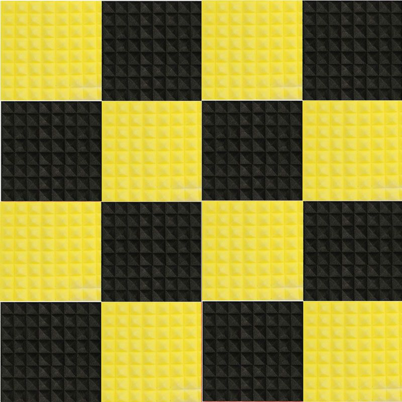 8 pièces/ensemble noir + jaune 50*50*5 cm Studio acoustique insonorisé mousse Absorption acoustique panneau de traitement tuile Wedge éponge de protection
