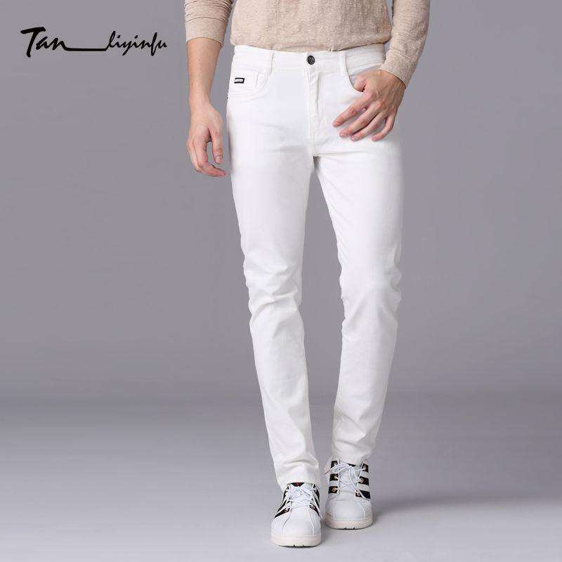 Tanliyinfu тонкого денима Для мужчин марка 2017 Весенняя Новинка Для мужчин тонкий белые джинсы с вышитыми надписями украшения брюки 1030