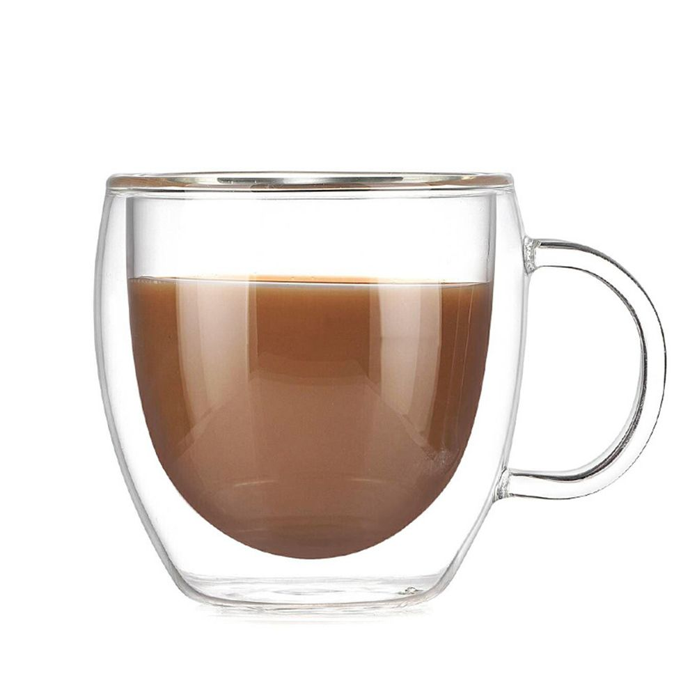 1Pc Double Layer Glass Cup Simple Morning Heat Insulation Mugs with Handle Coffee Milk Juice Cup 200ml