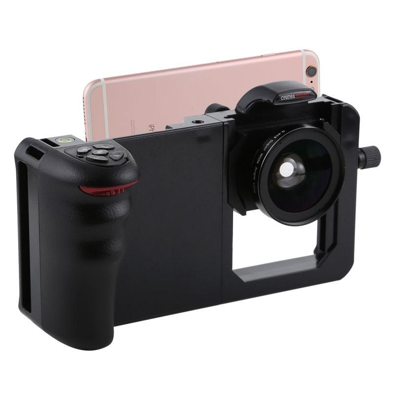 Universel 6.0 ''Smartphone stabilisateur plate-forme poignée professionnel 0.45X Super grand Angle Macro lentille téléphone vidéo Steadicam monture pour support