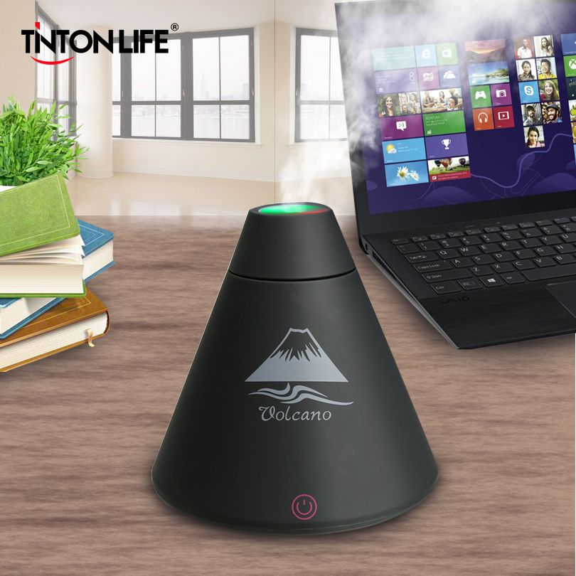 TINTONLIFE Creative Volcano Style USB Ultrasonic Humidifier With Colorful Led Light Essential Oil Aroma Diffuser Auto Off Touch