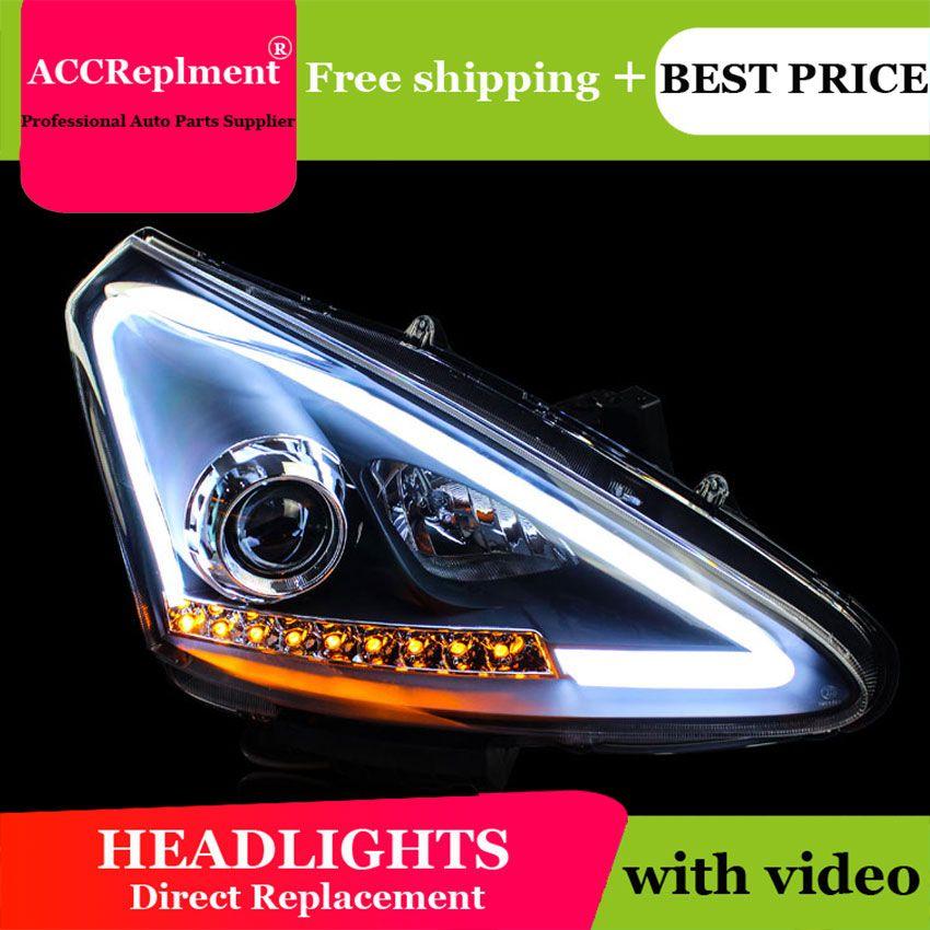 Auto styling Für Nissan Tiida scheinwerfer U engel augen 2011-2015 Für Nissan Tiida LED licht bar Q5 bi xenon objektiv Led-lampe