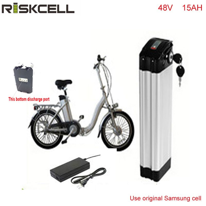 Bottom ebike battery pack 48v 1000w Silver Fish 48V 15AH Li-ion Battery Pack with 2A Charger For Samsung cell