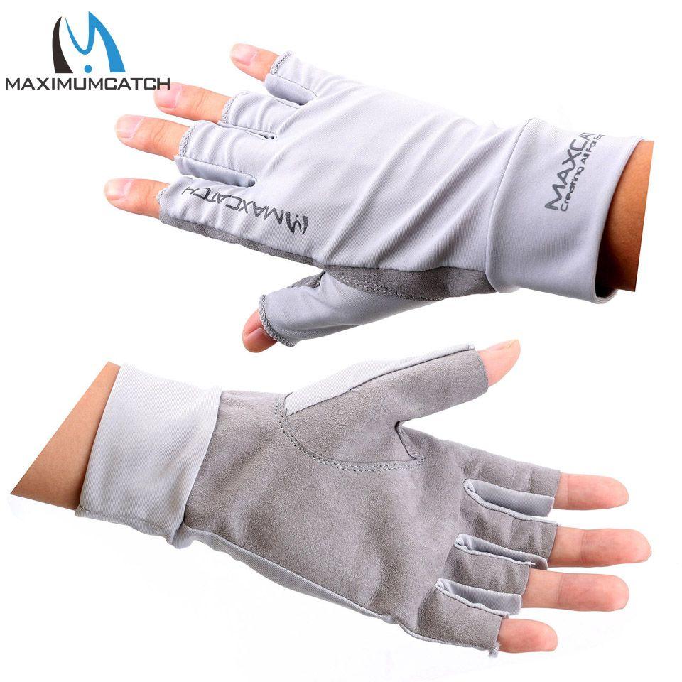 Maximumcatch Angeln Handschuhe Größe L/XL Fliegenfischen Anti-Uv Sonnenschutz Halbfinger 50 + UPF Outdoor