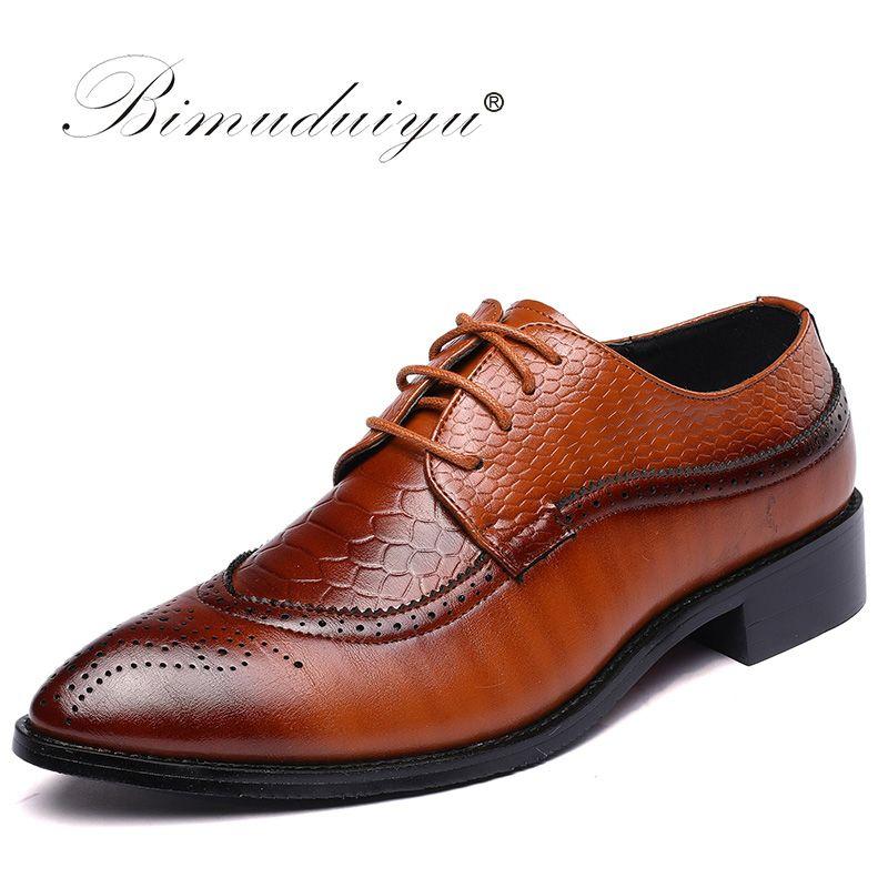 BIMUDUIYU marque taille 47 48 mode hommes chaussures habillées bout pointu Bullock Oxfords chaussures à lacets Designer chaussures de luxe hommes
