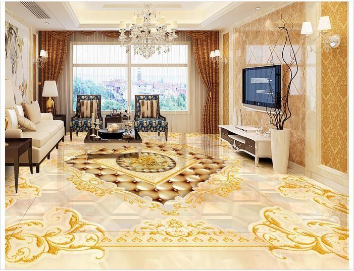 3d wallpaper custom 3d flooring painting wallpaper murals Golden noble European royal style 3d floor tile 3d room photo wallpaer