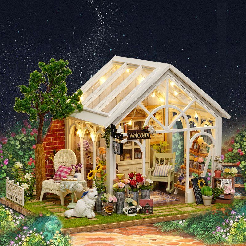 CuteRoom A-063-C Sunshine Greenhouse Flower Shop DIY Dollhouse With Music Cover Light Miniature Gift Toy For Children