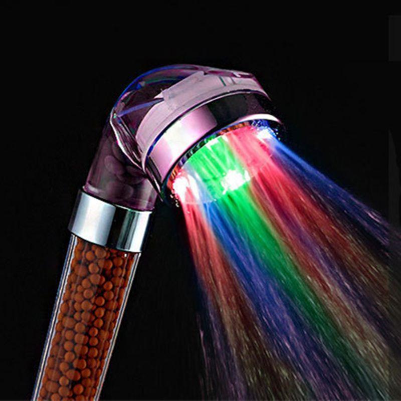 CHAUDE PVIVLIS LED Anion Douche SPA Tête De Douche Sous Pression D'économie D'eau Contrôle de La Température Coloré De Poche Grande Pluie De Douche