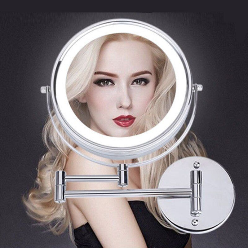 SpringQuan 8.5 pouces miroir cosmétique en métal 2-Face batterie LED lumières miroir de maquillage 5X amplification bras télescopique miroir de bain