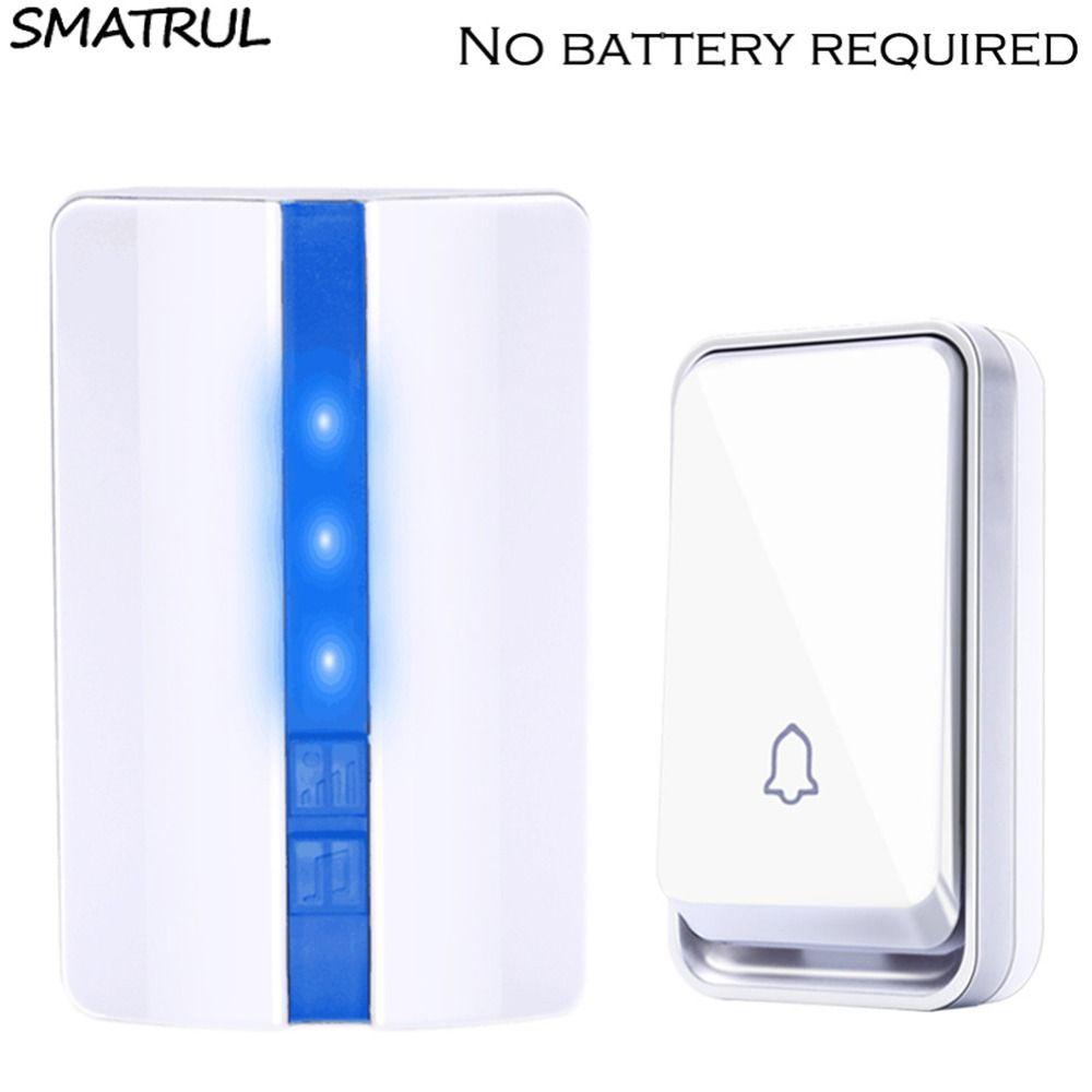 SMATRUL auto alimenté Étanche Sans Fil Sonnette aucune batterie UE plug intelligent Sans Fil de Bell Porte 1 bouton 1 2 Récepteur 110DB son