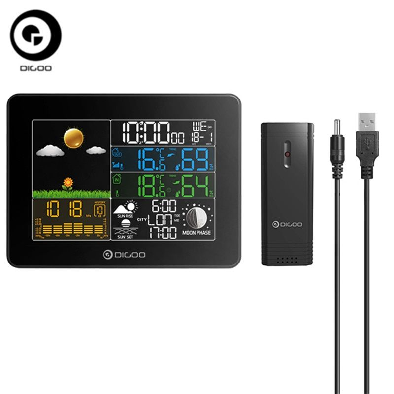 Digoo DG-TH8868 Hygrometer Thermometer Wireless Full-Color Screen Digital USB Outdoor Barometric Pressure Weather Station Sensor