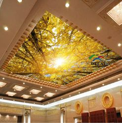 T-1617 autumn tree with yellow leaves pvc stretch film ceiling material with ceiling lamp
