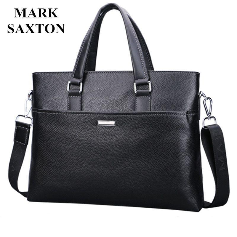 New Fashion Genuine Leather Famous Brand men briefcase,Mark Saxton commercial laptop briefcase, cross-body shoulder bag
