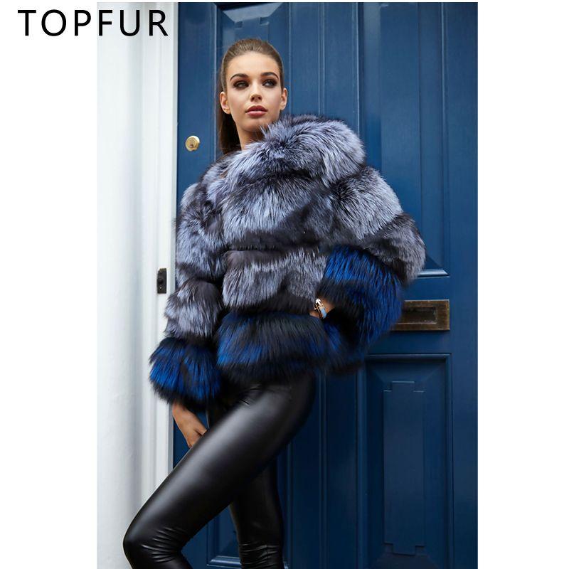 TOPFUR New Fashion Winter Natural Silver Fox Fur Jacket Women Thick Warm Casual Down Coat Luxury Slim Fur Coats 2018